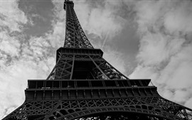 Preview wallpaper Eiffel Tower, black and white picture
