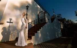 Preview wallpaper Fashion girl, blonde, bride, stairs, house