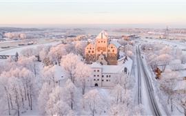 フィンランド、トゥルク、都市、冬、白雪