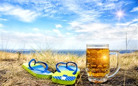 Preview wallpaper Flip flops, beer, cup, summer, sunshine