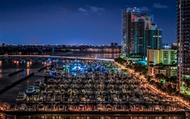 Флорида, Майами Бич, яхты, док, город, ночь, США