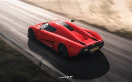 Preview wallpaper Forza Horizon 4, red Koenigsegg supercar speed