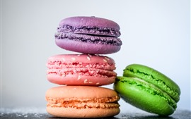 Preview wallpaper Four macaroons, colorful, cakes