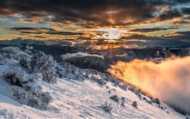 Preview wallpaper France, Alps, snow, winter, sunrise, clouds, morning