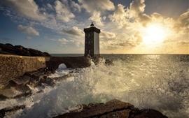 프랑스, 브리트니, 등 대, 바다, 물 스플래시, 햇빛