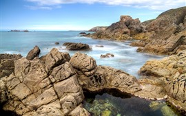 Aperçu fond d'écran France, bretagne, rochers, mer
