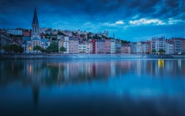 France, Lyon, city night, houses, river, clouds