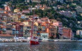 França, riviera, porto, casas, barcos, mar