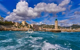 Preview wallpaper France, city, sea, lighthouse, clouds
