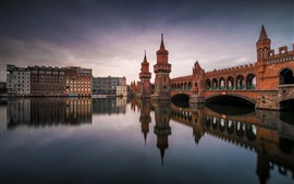 Germany, Berlin, bridge, river, dusk, city