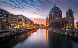 Германия, Берлин, здания, дома, река, огни, ночь