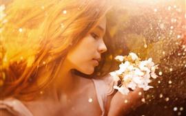 Girl, face, hair, flowers, rain