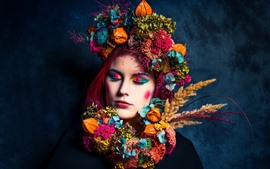 Preview wallpaper Girl, hair decoration, colorful, art photography
