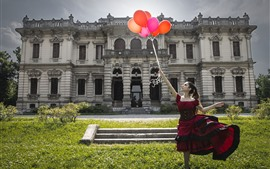 Preview wallpaper Girl, skirt, balloons, house
