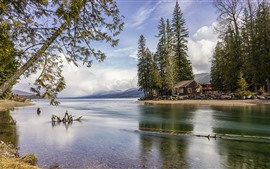 Preview wallpaper Glacier National Park, lake, trees, house, USA