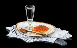 Preview wallpaper Glass cup, water, caviar, food, black background