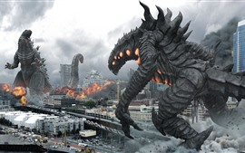 Godzilla and monster, city, movie
