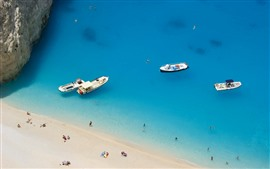Preview wallpaper Greece, blue sea, beach, people, boats