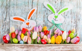 Happy Easter, tulips, colorful, eggs, rabbit