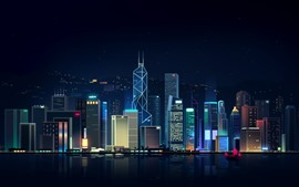 Preview wallpaper Hong Kong, city night, skyscrapers, art picture