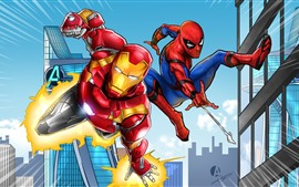 Preview wallpaper Iron Man and Spider-man, DC comics