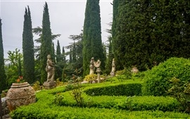 Preview wallpaper Italy, Tuscany, park, trees, statue