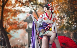 Preview wallpaper Japanese girl, pose, kimono, umbrella, autumn