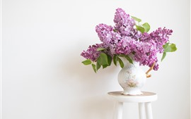 Lilac flowers, vase, chair, wall