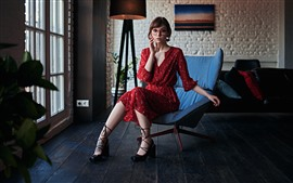 Preview wallpaper Lovely girl, red skirt, glasses, room, chair