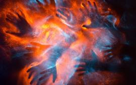 Muchas manos, vidrio, nebuloso, fuego, fotografía creativa.
