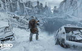Metro: Exodus, city, ruins, soldier, winter