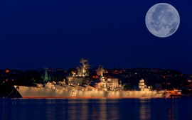 Preview wallpaper Moscow, cruiser, moon, night, sea