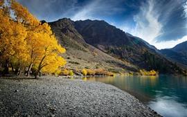 Montanhas, árvores, lago, outono, nuvens