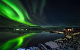 Preview wallpaper Northern lights, beautiful night scenery, Norway, lake, mountains, stars, huts