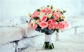 Preview wallpaper One bouquet roses, bricks, romantic