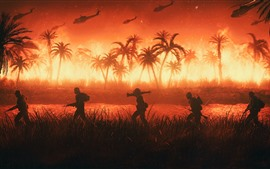 Preview wallpaper Palm trees, Vietnam, soldiers, helicopter, fire, war, art picture