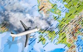 Самолет, карта мира, креативный дизайн