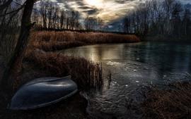 Пруд, трава, деревья, лодка, лед, сумерки, осень