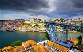 Preview wallpaper Portugal, Porto, city, bridge, river, dark clouds