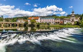 Aperçu fond d'écran Portugal, pont, rivière, ruisseau, maisons, ville