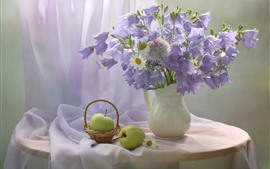 Preview wallpaper Purple bell flowers and white chamomile, vase, apple, pear
