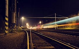 Preview wallpaper Railroad, track, light lines, night