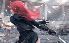Preview wallpaper Red hair fantasy girl, back view, sword, wind