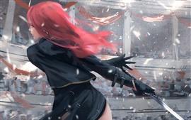 Vorschau des Hintergrundbilder Rotes Haarfantasiemädchen, hintere Ansicht, Klinge, Wind