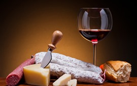 Red wine, cheese, knife, bread, sausage