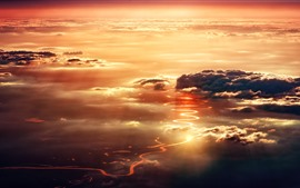 River, clouds, sunset, top view