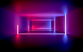 Preview wallpaper Room, neon light, purple style, abstract design