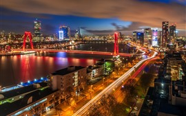 Rotterdam, Netherlands, city night, bridge, buildings, illumination