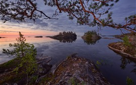Preview wallpaper Russia, Lake Ladoga, trees, islands, dusk