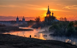 Preview wallpaper Russia, village, church, river, fog, morning